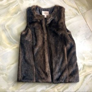 Faux Fur Vest in Brown and Black